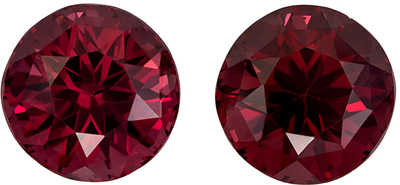 Beautiful Well Matched Round Shape Red Rhodolite Matched Pair, 14.27 carats, Rich Raspberry Red Color, 11.1 mm