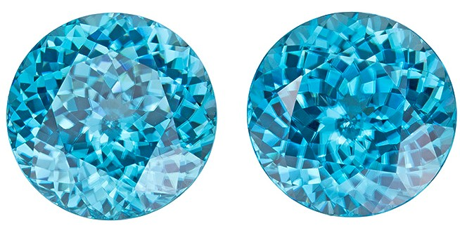 Beautiful Blue Zircon Pair,  14.32 carats, Round shape gemstones, 10.8  mm
