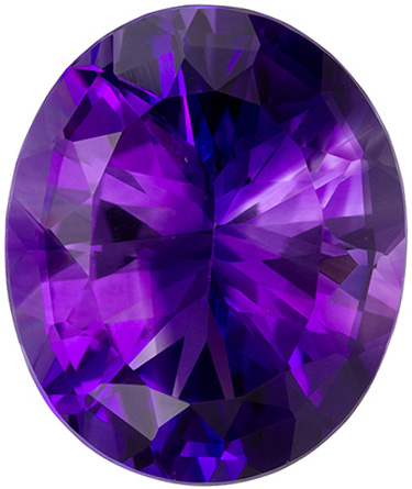 14.4 x 12 mm Amethyst Genuine Gemstone Oval Cut, Vivid Purple, 6.53 carats