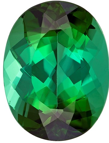 14.5 x 11.1 mm Blue Green Tourmaline Genuine Gemstone in Oval Cut, Rich Blue Green, 8.46 carats