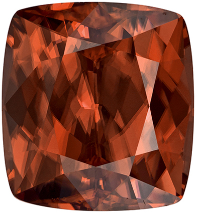 14.6 carats Brown Zircon Loose Gemstone Cushion Cut, Rosey Brown, 12.6 x 11.5 mm
