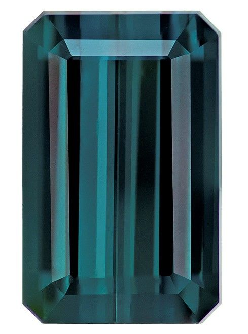 Unset Blue Tourmaline Gemstone, Emerald Cut, 7.71 carats, 14.6 x 9.3 mm , AfricaGems Certified - A Magnificent Gem
