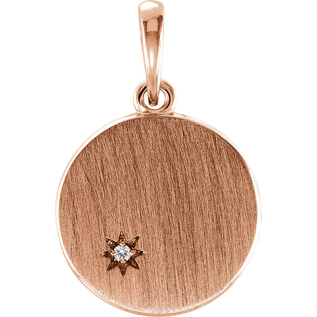 Genuine  14 Karat Rose Gold .005 Carat Diamond Engravable Pendant