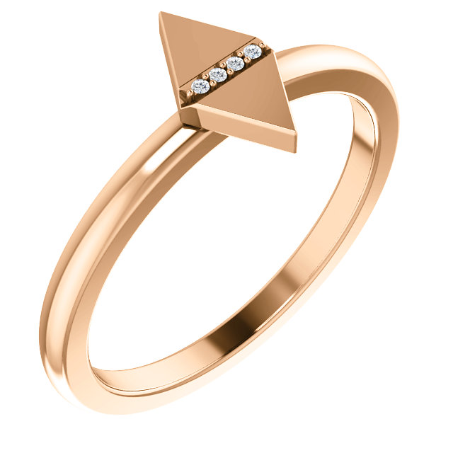 14 Karat Rose Gold .01 Carat Diamond Geometric Ring