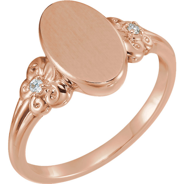 Shop Real 14 KT Rose Gold .03 Carat TW Diamond Fleur-de-lis Oval Signet Ring