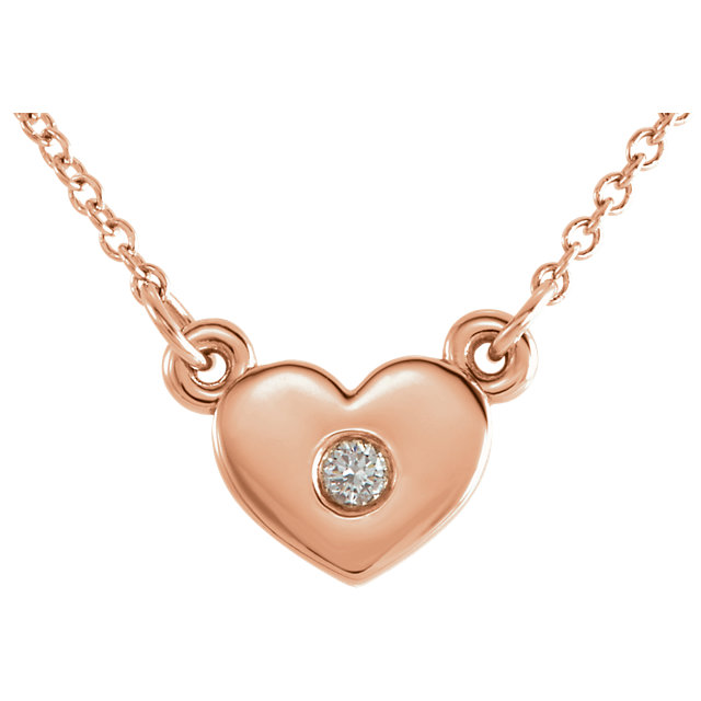 Graceful 14 Karat Rose Gold .03 Carat Round Genuine Diamond Heart 16