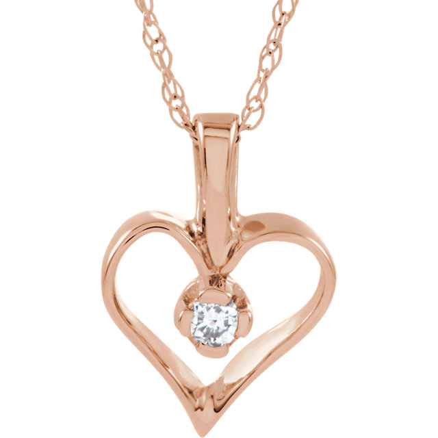 Fine Quality 14 Karat Rose Gold .03 Carat Total Weight Diamond Heart 18