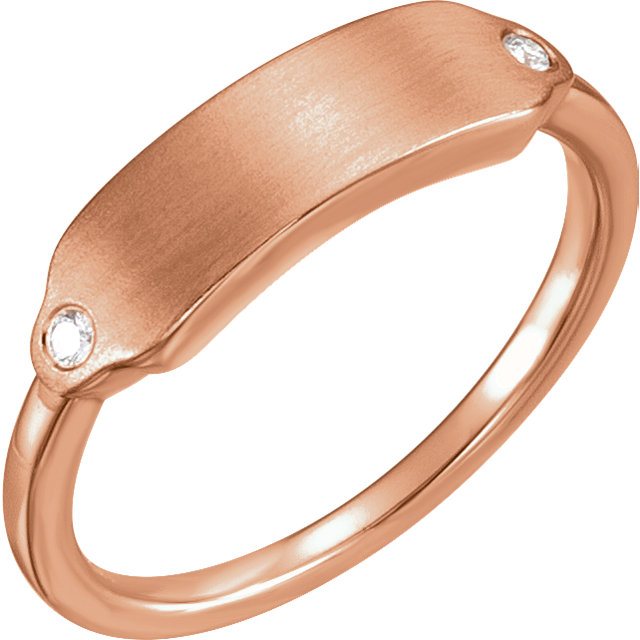 14 Karat Rose Gold .03 Carat Diamond Signet Ring