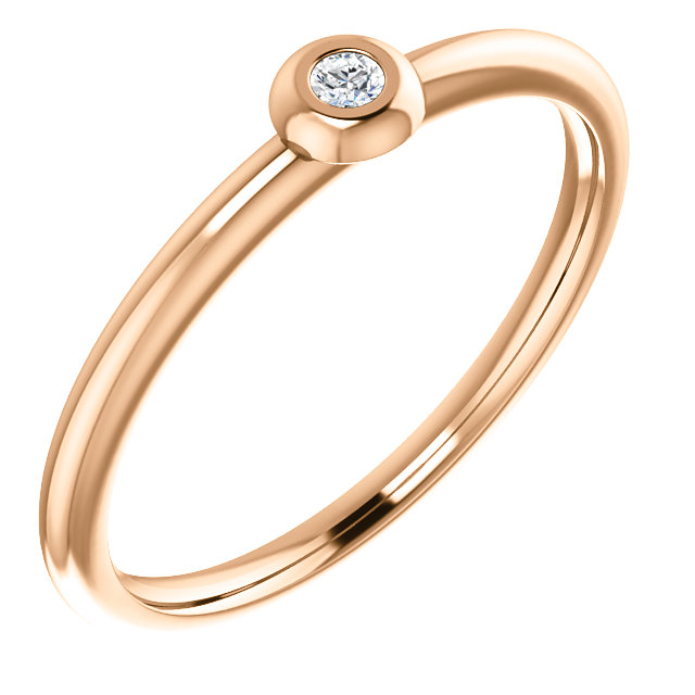 Shop 14 KT Rose Gold .03 Carat TW Diamond Stackable Ring