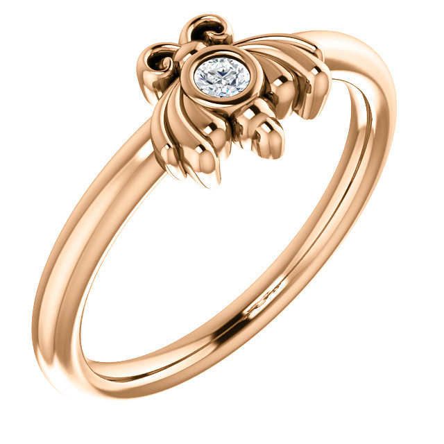 Must See 14 KT Rose Gold .03 Carat TW Diamond Youth Bee Ring