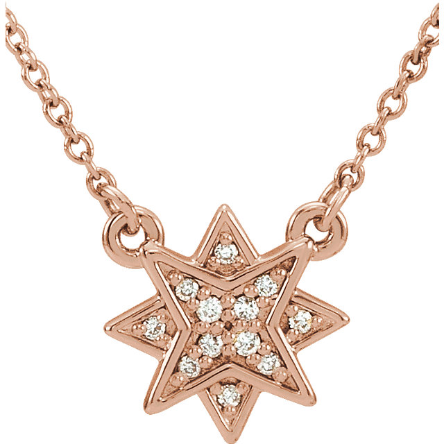 Very Nice 14 Karat Rose Gold .04 Carat Total Weight Diamond Star 16-18