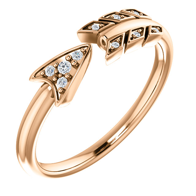 Shop Real 14 KT Rose Gold .04 Carat TW Diamond Arrow Ring