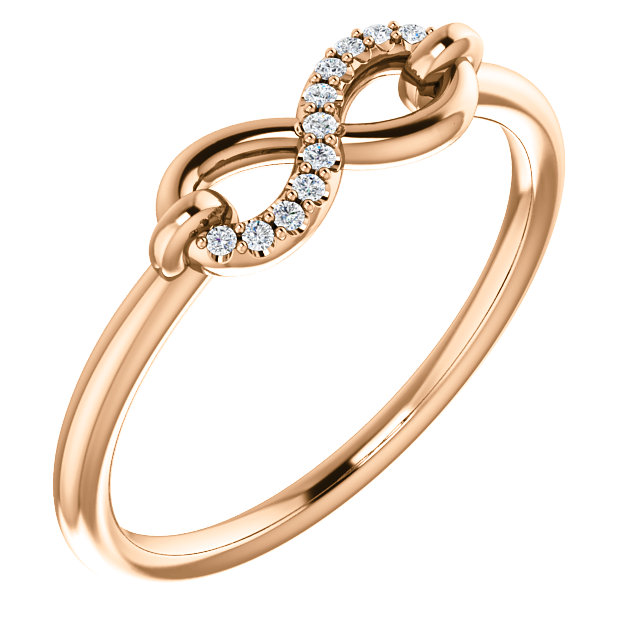 Contemporary 14 Karat Rose Gold .04 Carat Total Weight Diamond Infinity-Inspired Ring