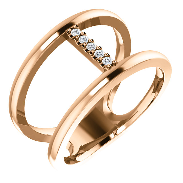Buy Real 14 KT Rose Gold .04 Carat TW Diamond Negative Space Ring