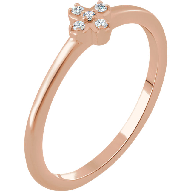 Appealing Jewelry in 14 Karat Rose Gold .04 Carat Total Weight Diamond Stackable Flower Ring