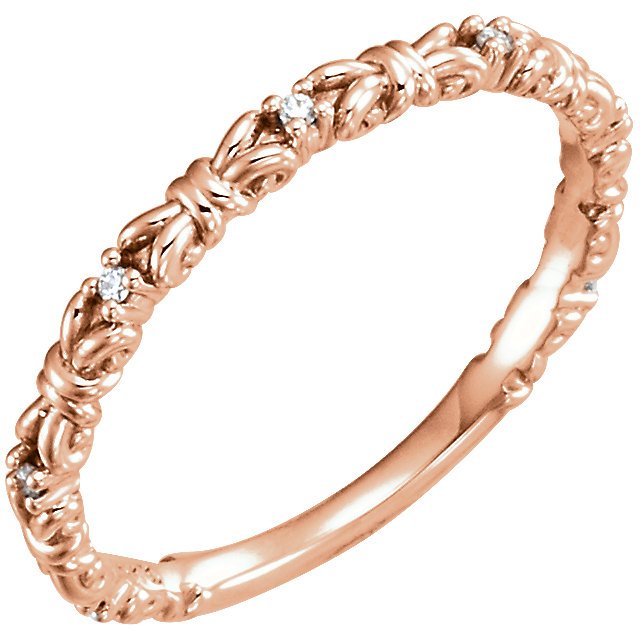 Genuine  14 Karat Rose Gold .04 Carat Diamond Stackable Ring