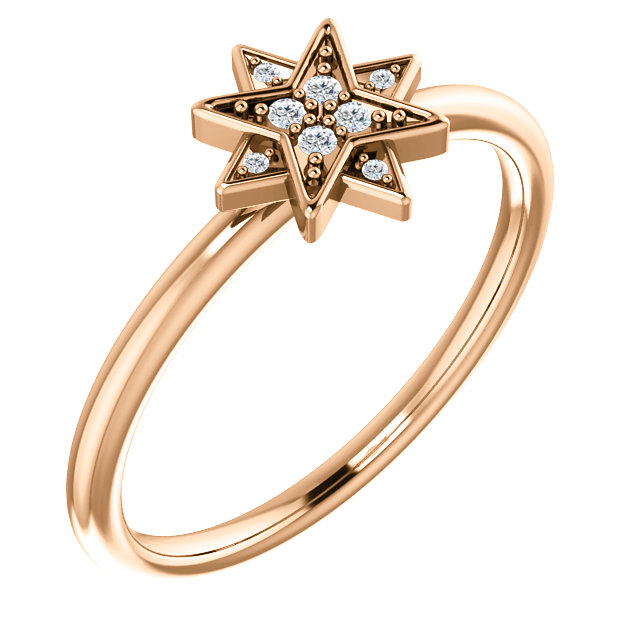 Low Price on Quality 14 KT Rose Gold .04 Carat TW Diamond Star Ring