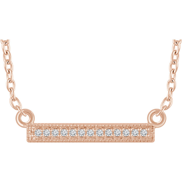 Contemporary 14 Karat Rose Gold .05 Carat Total Weight Diamond Bar 16-18