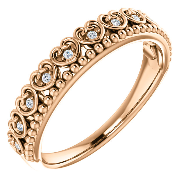 Appealing Jewelry in 14 Karat Rose Gold .05 Carat Total Weight Diamond Beaded Heart Stackable Ring