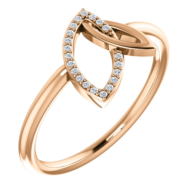 Genuine 14 Karat Rose Gold .05 Carat Diamond Double Leaf Ring