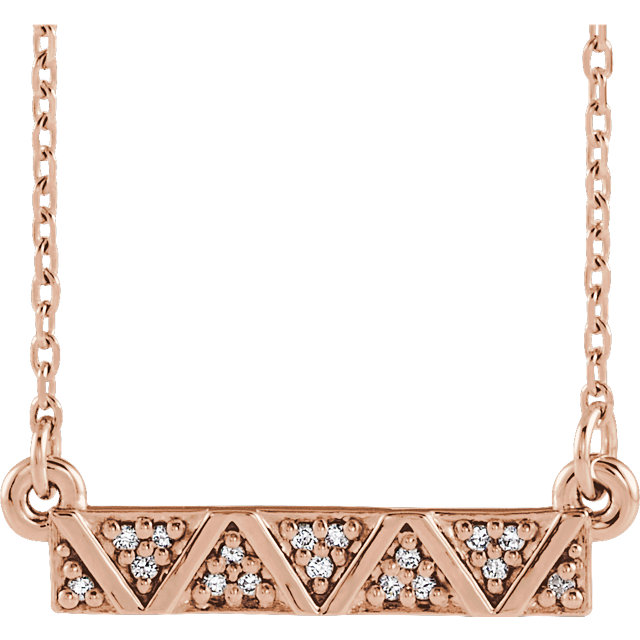 14 Karat Rose Gold .05 Carat Diamond Geometric Bar 16-18