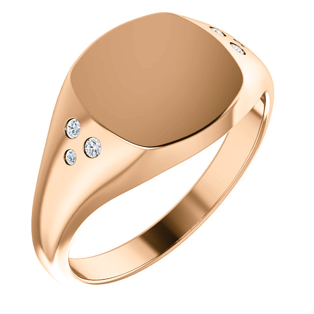 Shop 14 Karat Rose Gold .05 Carat Diamond Ladies Signet Ring