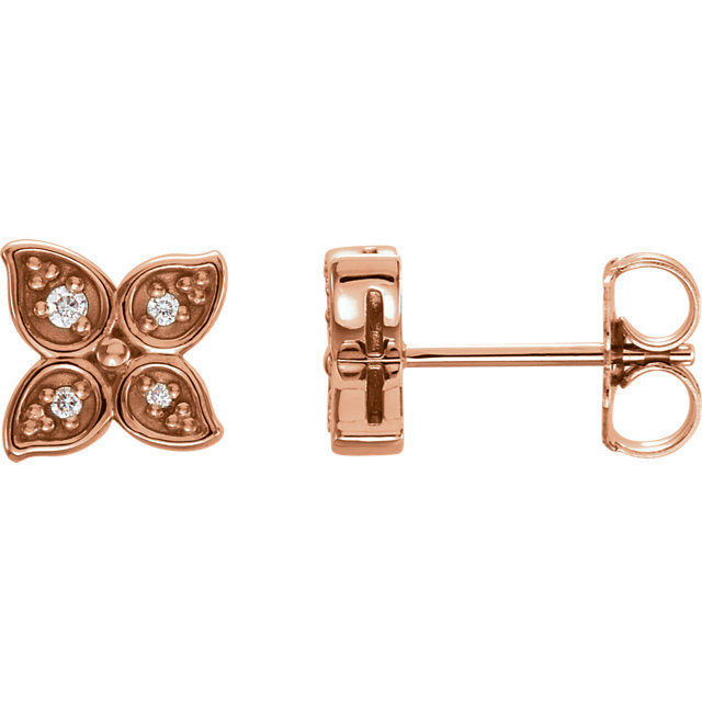 Appealing Jewelry in 14 Karat Rose Gold  .05 Carat Total Weight Diamond Leaf Earrings