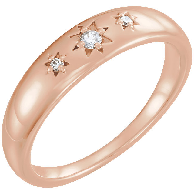 14 Karat Rose Gold .05 Carat Diamond Starburst Ring