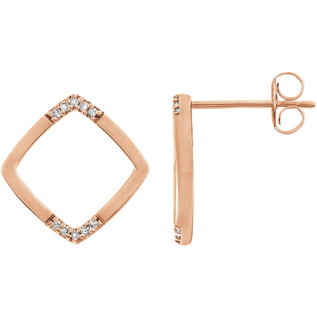 Stunning 14 Karat Rose Gold .05 Carat Total Weight Geometric Diamond Earrings