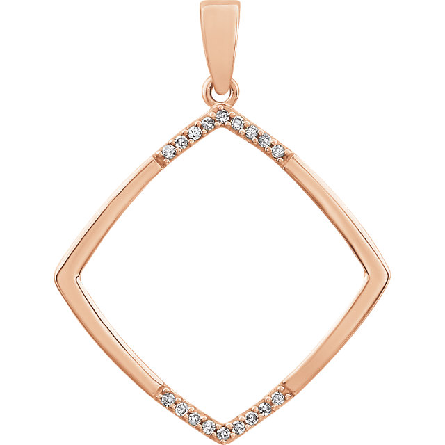 Chic 14 Karat Rose Gold .05 Carat Total Weight Geometric Diamond Pendant