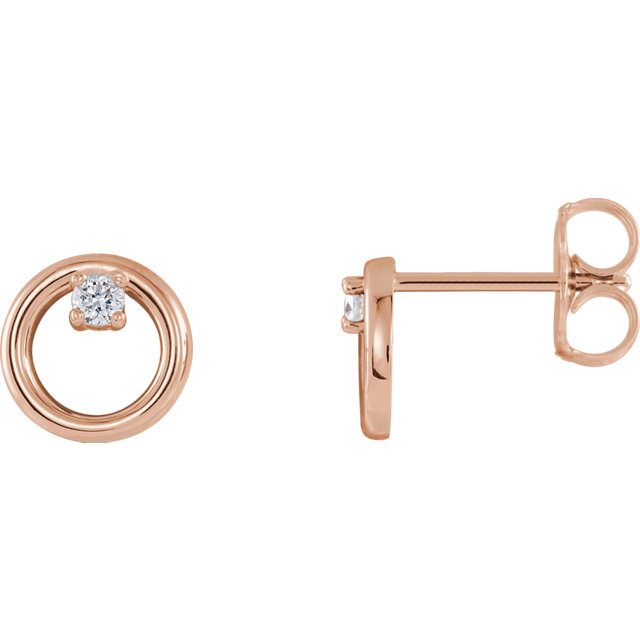 Low Price on Quality 14 KT Rose Gold .06 Carat TW Diamond Circle Earrings