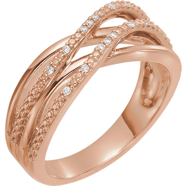 Perfect Gift Idea in 14 Karat Rose Gold .06 Carat Total Weight Diamond Criss-Cross Ring