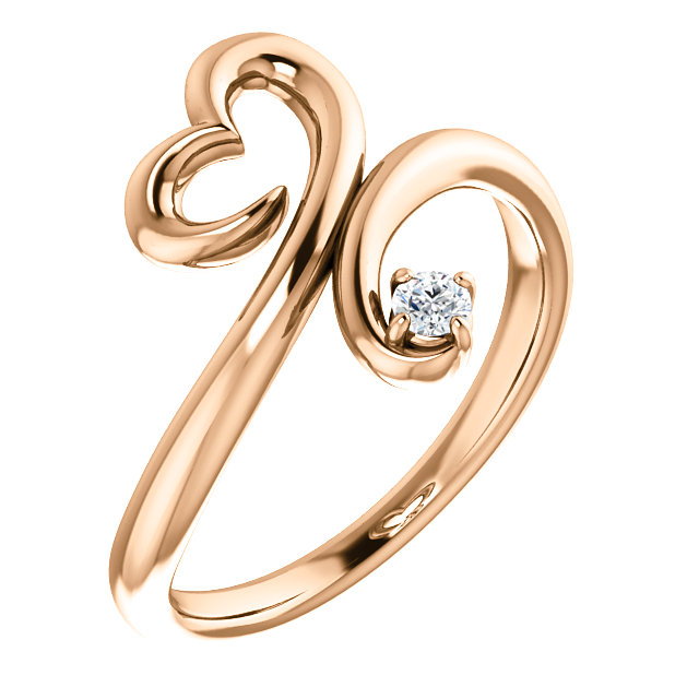Wonderful 14 Karat Rose Gold .06 Carat Total Weight Diamond Heart Ring