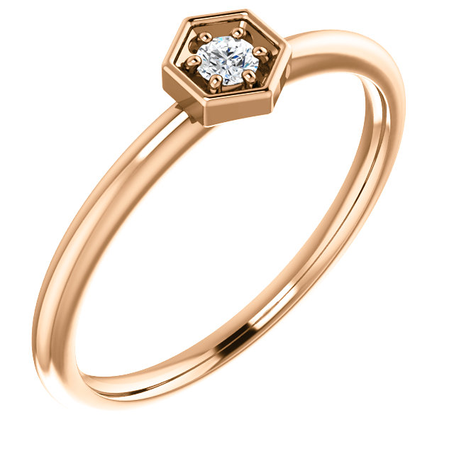 White Diamond Ring in 14 Karat Rose Gold .06 Carat Diamond Hexagon Stackable Ring