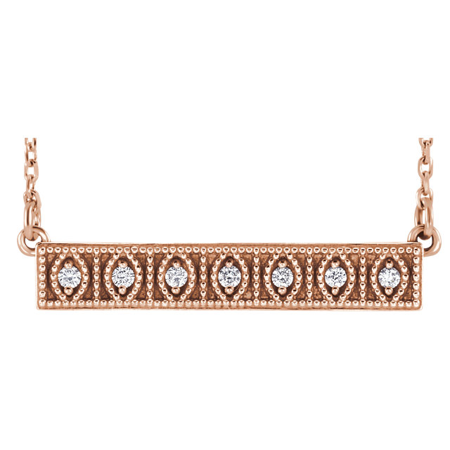 Great Buy in 14 Karat Rose Gold .06 Carat Total Weight Diamond Milgrain Bar 16-18