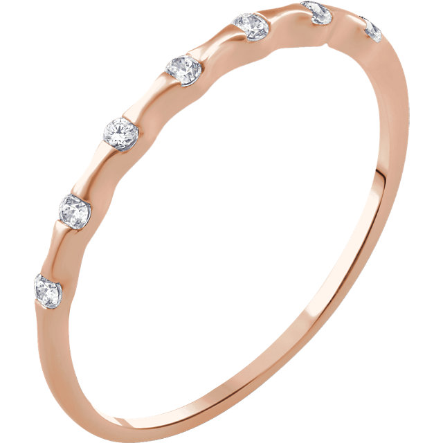 14 Karat Rose Gold .06 Carat Diamond Stackable Ring