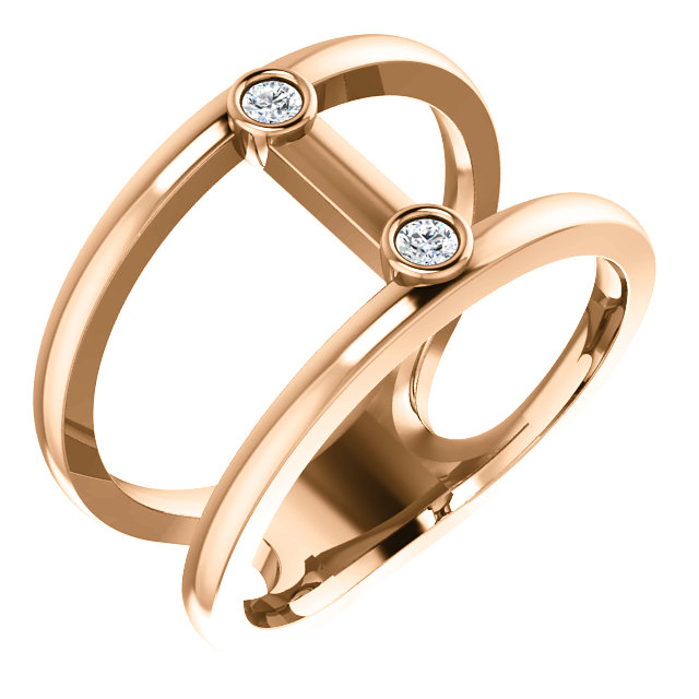 Genuine 14 KT Rose Gold .06 Carat TW Diamond Two-Stone Negative Space Ring