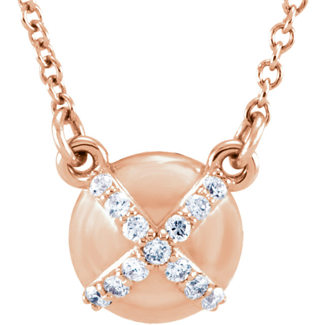14 Karat Rose Gold .07 Carat Diamond 16 0.50
