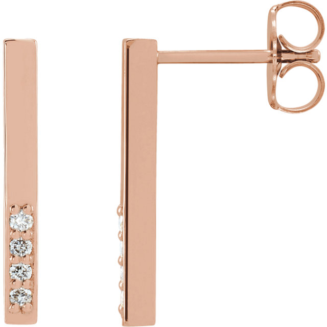 Great Gift in 14 Karat Rose Gold .07 Carat Total Weight Diamond Geometric Dangle Earrings