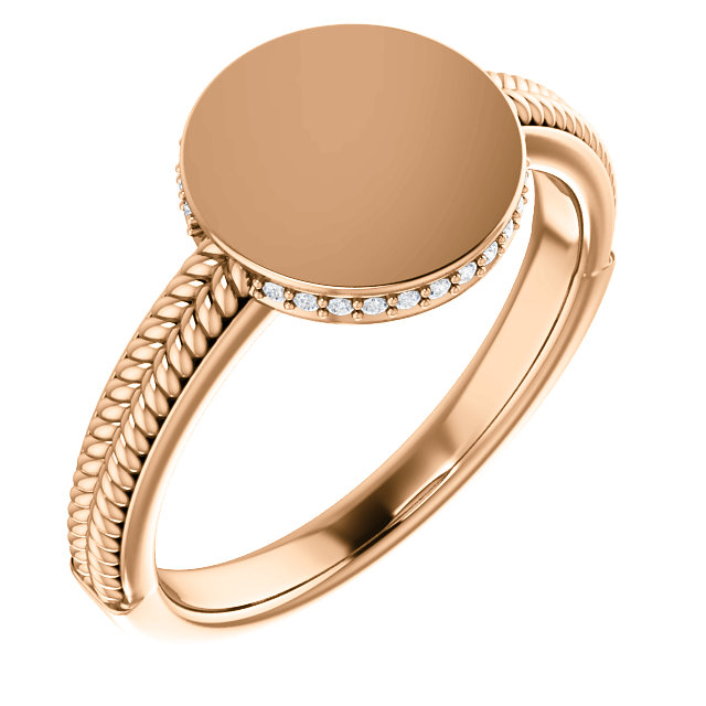 14 Karat Rose Gold .07 Carat Diamond Ladies Signet Ring