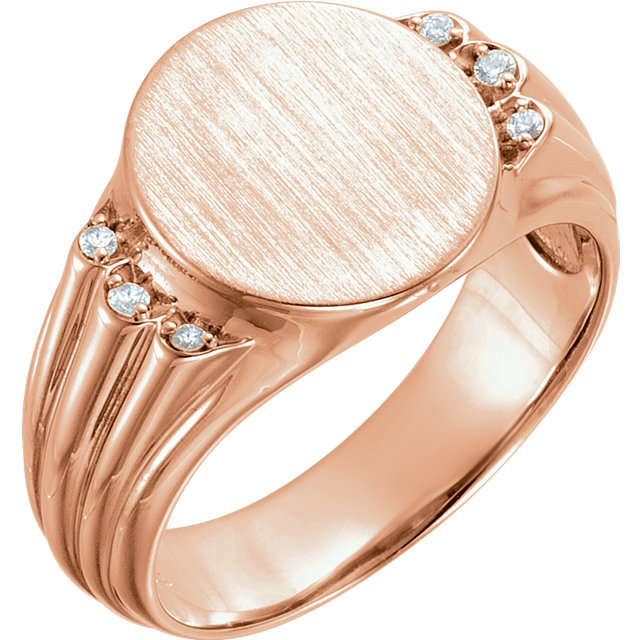 Genuine 14 Karat Rose Gold .07 Carat Diamond Men's Oval Signet Ring