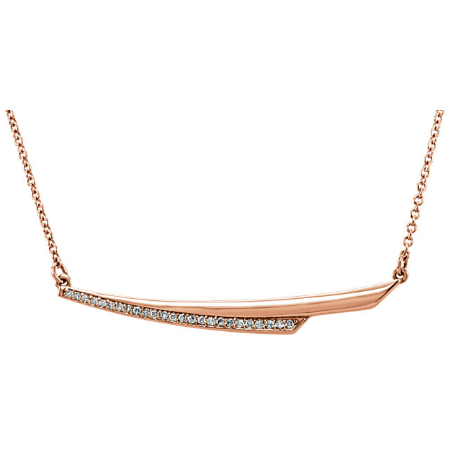 Great Gift in 14 Karat Rose Gold .08 Carat Total Weight Diamond Bar 17.5