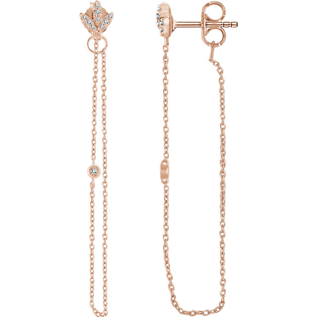 Must See 14 KT Rose Gold .08 Carat TW Diamond Chain Earrings