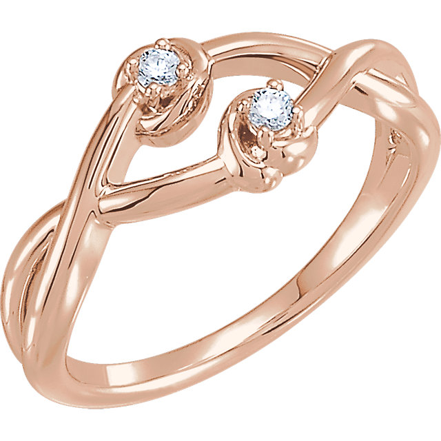 Shop Real 14 KT Rose Gold .08 Carat TW Diamond Double Knot Ring