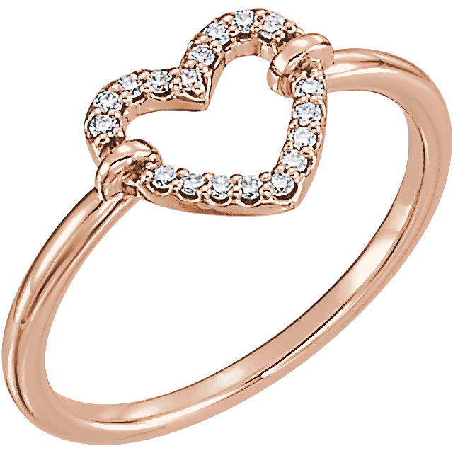 Buy Real 14 KT Rose Gold .08 Carat TW Diamond Heart Ring