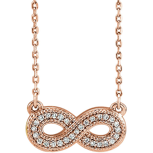 Jewelry Find 14 KT Rose Gold .08 Carat TW Diamond Infinity-Inspired 16-18