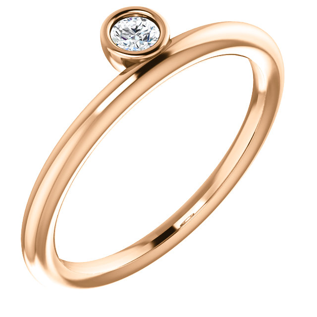 Genuine  14 KT Rose Gold 0.10 Carat TW Diamond Asymmetrical Stackable Ring
