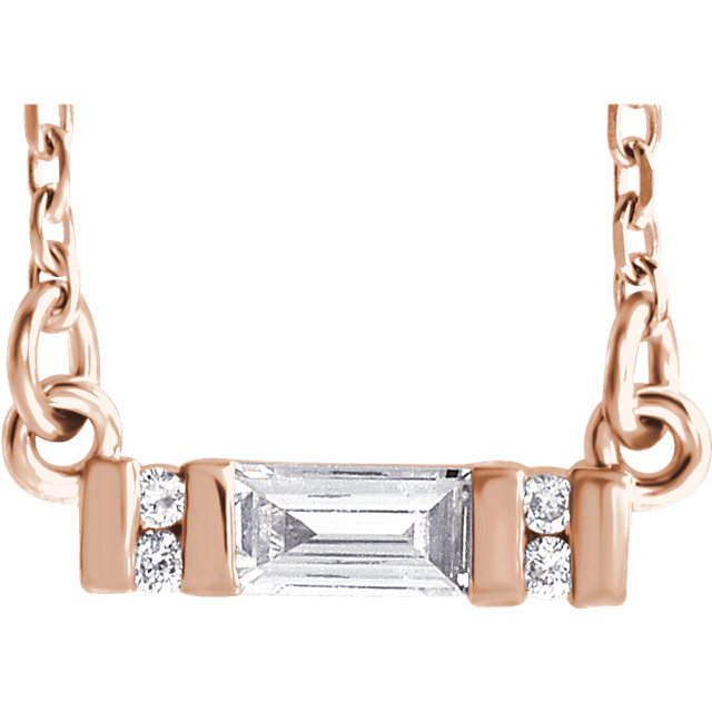 14 Karat Rose Gold 0.10 Carat Diamond Bar 16-18