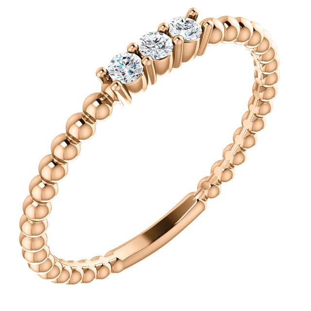 Must See 14 KT Rose Gold 0.10 Carat TW Diamond Beaded Ring