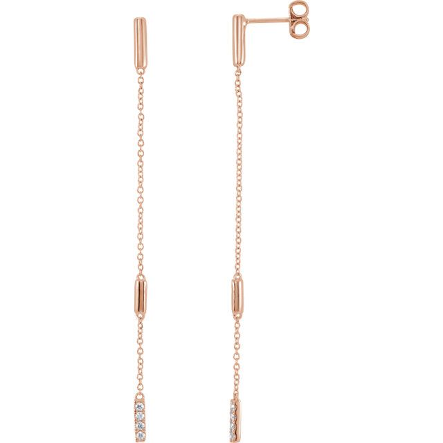 Fine Quality 14 Karat Rose Gold 0.10 Carat Total Weight Diamond Chain Earrings